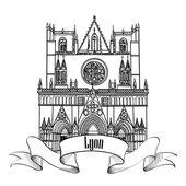 Lyon landmark St John church. — Stock Vector