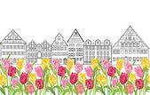 Houses with tulip flowers — Stockvektor