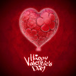 Pair of bright red hearts on red background — Stockfoto