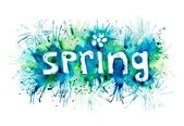 Word spring painted watercolor — Stock Photo