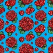 Roses on a blue background — Stockvectorbeeld