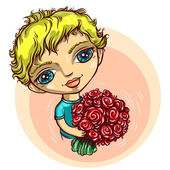 Boy with flowers — Stock Vector