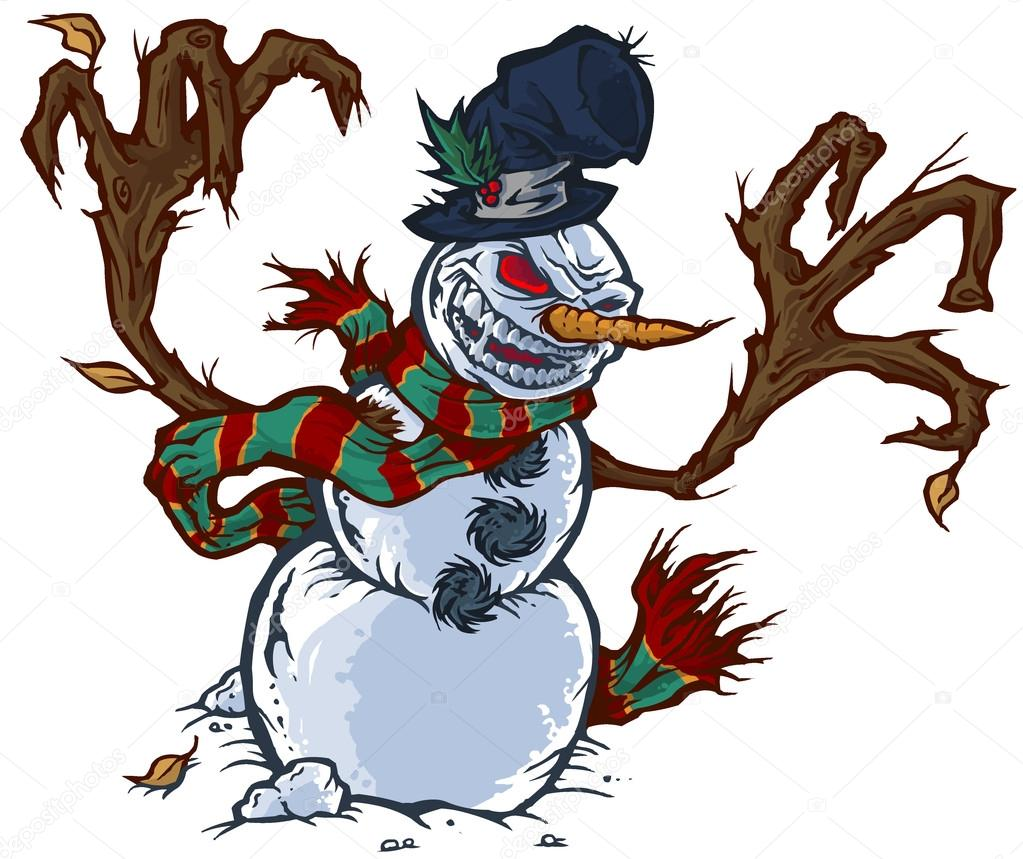 Evil Snowman Angry snowman - stock image