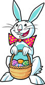 Easter bunny holding a basket — Stock Photo