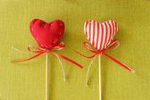 Red heart on wooden stick — Stockfoto