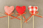 Red heart on wooden stick — Stok fotoğraf
