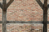 Brick wall of the half timbered house  background — Stock Photo