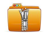 Folder icon with zip — Stock Vector