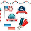 Independence day objects collection — Stock Vector