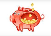 Cerdo con dinero — Vector de stock