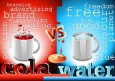 Cola y agua — Vector de stock