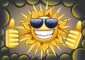 Summer sun in cloud — Stock Vector