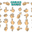 Stock Vector: Comics hands