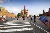 Tourists and the Cathedral of St. Basil — Stok fotoğraf