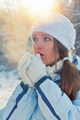 Winter sunset portrait — Stock Photo
