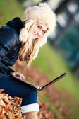 Cute Teenager girl with laptop. European Teenager — Stock Photo