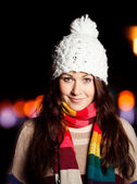 Portrait of young woman in city at night. Young European Girl. — Stock Photo
