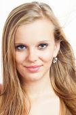 Beautiful Caucasian Blonde Girl isolated on white. European Beauty — Stock Photo