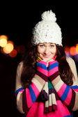 Beautiful female shivering in cold. Beautiful Young Teenager Gir — Stock Photo