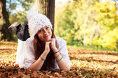 Beautiful Teenager Girl in park during autumn. Caucasian Beauty. — Stock Photo