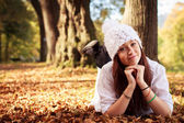 Beautiful Teenager Girl in park during autumn. Caucasian Beauty. — Stock Photo