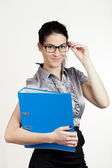 Young business girl with documents. Business woman — Stock Photo