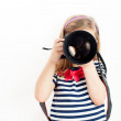 Girl holding Camera and taking photo — Stock Photo