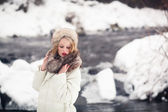 Beautiful girl in winter outdoors — Stock Photo