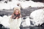 Beautiful girl in winter outdoors — Stock Photo