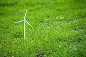 Wind turbine on grass — Stock Photo