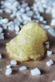Potato chips with salt crystals — Stock Photo