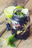 Refreshing blackberry lemonade with mint — Stock Photo