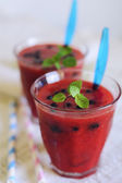 Delicious sweet strawberry smoothie — Stock Photo