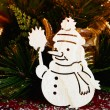 Tiny snowman ornamen — Stock Photo