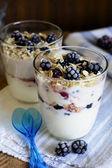 Frozen blackberries and yoghurt — Stock Photo