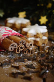 Christmas cookies and spices — Stok fotoğraf