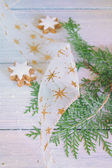 Pine branches and gift ribbon — Stock Photo