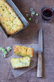 Home-made bread with leeks and peas — Stock Photo