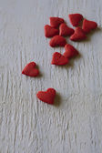 Tiny red sugar hearts — Foto Stock