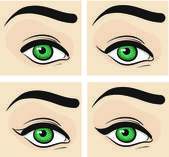Phased eye makeup. Arrows. Vector illustration — Stock Vector