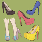 Un conjunto de zapatos. cinco zapatos de color diferente. tacones altos. vector — Vector de stock