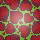 Fundo verde sem emenda de corações. dia de são valentino — Vetor de Stock
