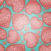 Bezszwowe tło zielony serca. St valentine's day — Wektor stockowy