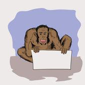 Illustration colorée avec l'homme de néandertal pour votre conception — Vecteur