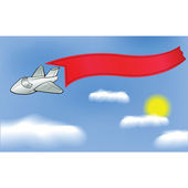 Airplane with banner — Stock Vector