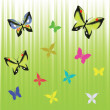 Green background with butterflies — Stock Photo