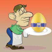číšník a velikonoční vajíčko — Stock vektor