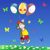 Monkey and easter eggs balloons — Vector de stock