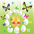 Easter eggs and butterflies — Stock Photo