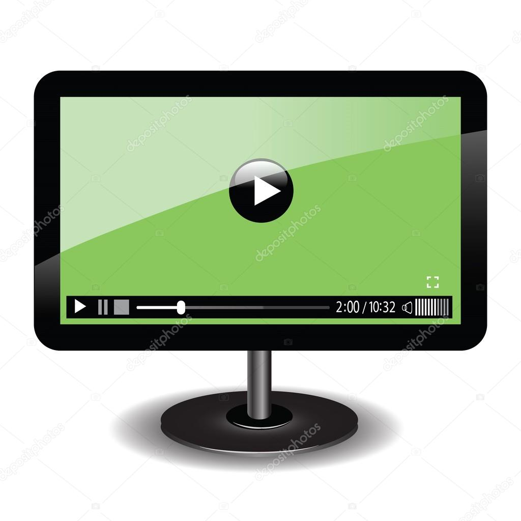 Monitor with web video player — Stock Vector © valeo6 #33275997